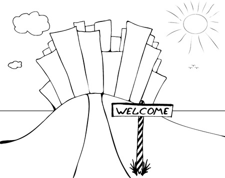 Black and white cartoon landscape with city on a hill and the sign