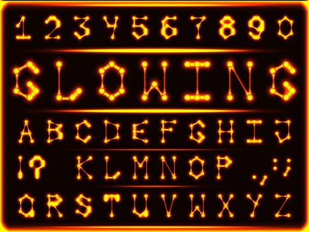 Robotic font-style d'or rougeoyant chaud. Les lettres et les chiffres. Vecteurs
