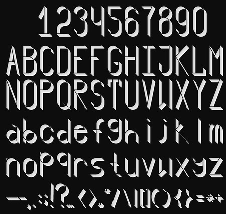A complete set of letters, numbers and punctuation marks, on a black background. Volume font by knockout