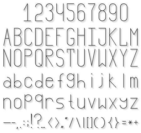 Full set of flat letters, numbers and punctuation marks. Three different font sizes.