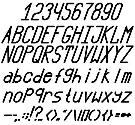 chopped: Bold and italic fonts. A complete set of letters, numbers and punctuation marks. Chopped font. High.