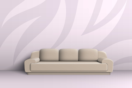 cushions: Three seater sofa with cushions in a room with patterned walls.