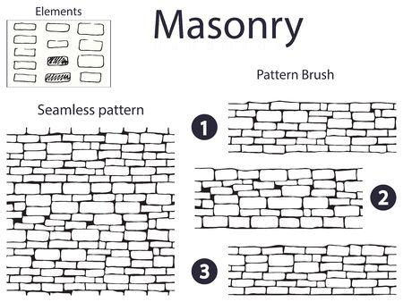 黒と白のシームレスなパターンと石積みの形で図面 3 のブラシ。一連の落書き要素から作られています。