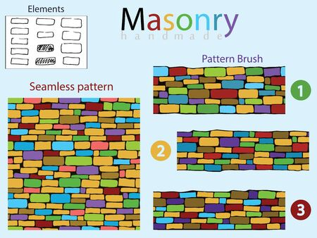 construction firm: Colored seamless pattern and 3 brush drawing in the form of stone masonry. And a set of doodle elements from which they are made.