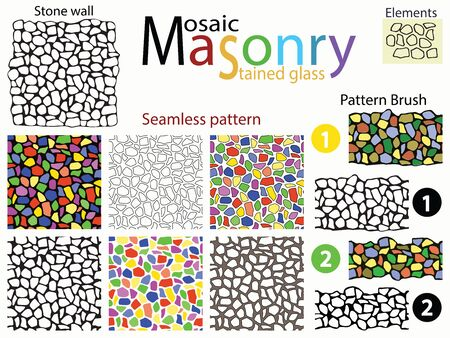 stone wall: Stone wall. Set of seamless patterns and pattern brushes in the form of stone masonry. Mosaics and stained glass Windows. Plus a set of doodles elements from which it is made.