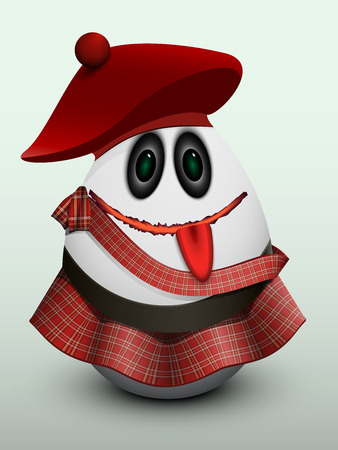 The egg with ribbon, in a kilt and Scottish cap with a ball.