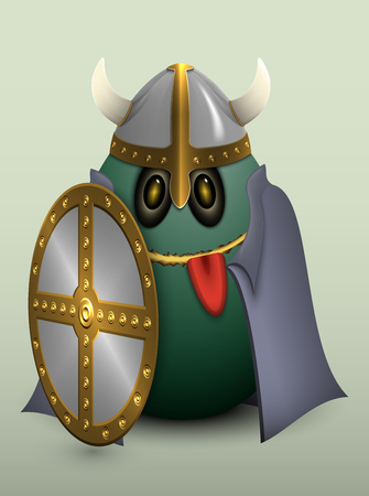 gullible: Viking helmet with horns, Cape and a shield.