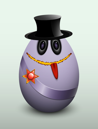 gullible: Egg gentleman in a hat and the medal on the ribbon.