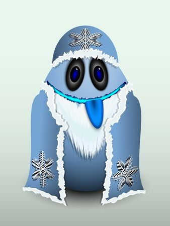 fur coat: Egg bearded old man in a fur coat and hat with snowflakes.