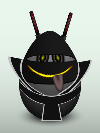 gullible: Egg ninja in a black kimono and two swords behind his back.