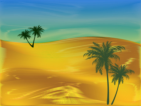 Styling of the desert with palm trees