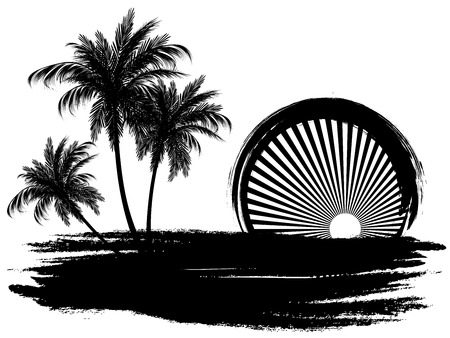 Palm trees in the sun. Black and white styling.