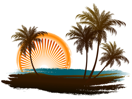 Palm trees in the sun. Pastiche on a white background.