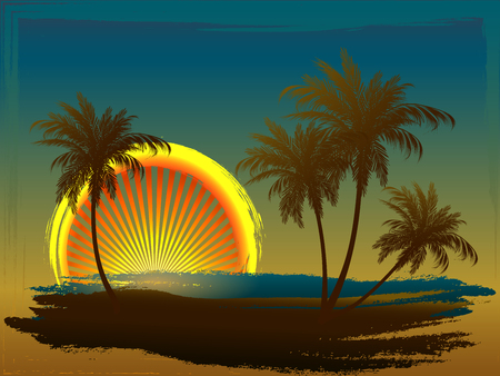 Palm trees in the sun. Styling on a colored background. Sunset. The sun gate. Illustration