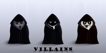 three villain for Halloween in identical raincoats