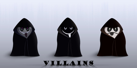 villain: three villain for Halloween in identical raincoats
