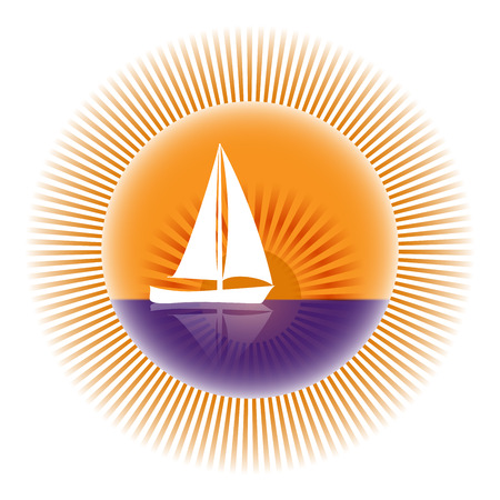 Yacht on a background of sun rays Logo Illustration