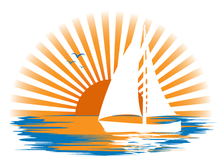 White sailboat and its reflection in the water, and seagulls in the sea, against the sun's rays at sunset. Ilustração