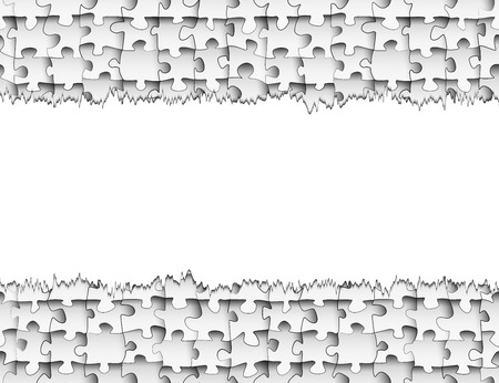 torn edges: Horizontal strip of paper with torn edges for your design on the background of seamless pattern of puzzle pieces