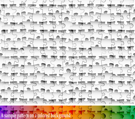 blending: Seamless pattern of black and white paper jigsaw puzzles with transparency. For blending into color backgrounds.