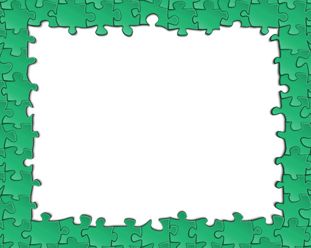 A green box of puzzles with a blank background for your design inside
