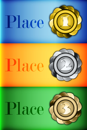 bestowal: Colored medals prizes Infographics on the background of the flag