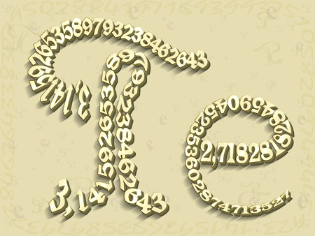 ciphers: The math letter e and Pi yellow depicted from the figures of which they consist, on the mathematical background