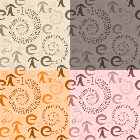 Set of four seamless patterns of colored letters math e and Pi in the form of spirals of eigenvalues on the background of themselves Illustration