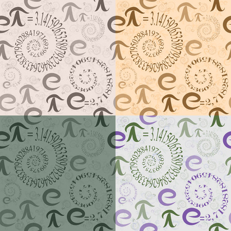 ciphers: Set of four seamless patterns of colored letters math e and Pi in the form of spirals of eigenvalues on the background of themselves Illustration
