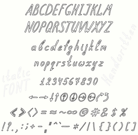 punctuation marks: Handwritten italic font invert. The set of numbers of uppercase and lowercase letters punctuation marks and arrows.