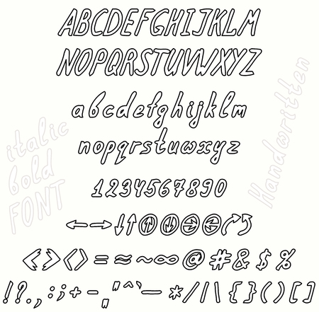 Font Cursive Italics A Set Of Uppercase And Lowercase Letters