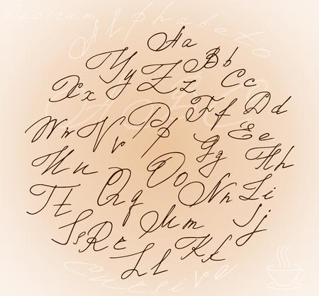 Graceful Stylized Letters Cursive Alphabet Inside The Circle ...