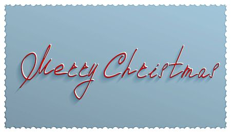 snowcapped: Merry Christmas card with blue background and a handwritten inscription in red snow-capped letters in happy Christmas with white frame Illustration