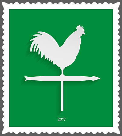 weathervane: Rooster weathervane in a decorative frame on a green background