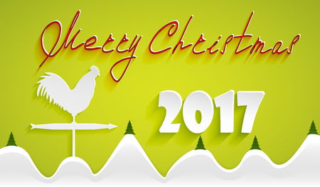 Merry Christmas greeting. Winter landscape with snow and fir trees on a yellow background paper and a rooster weathervane with an arrow pointing to the new year Illustration