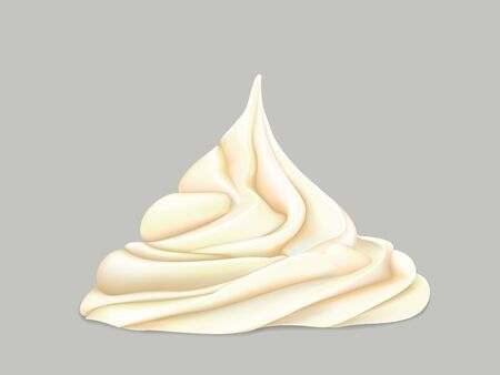 delicate twisted cream on a grey background Illustration