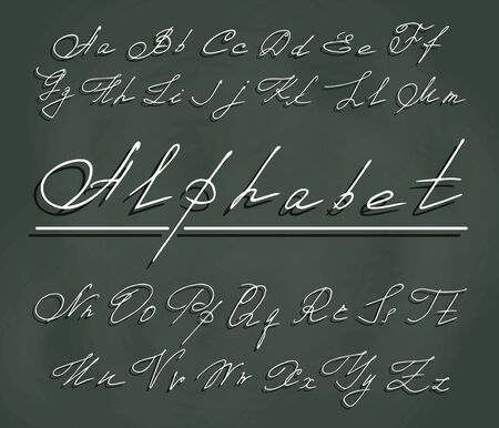 curlicues: handwriting font with elegant curlicues. White letters in the air with a clear shadow on the background of chalky dark green school Board Illustration