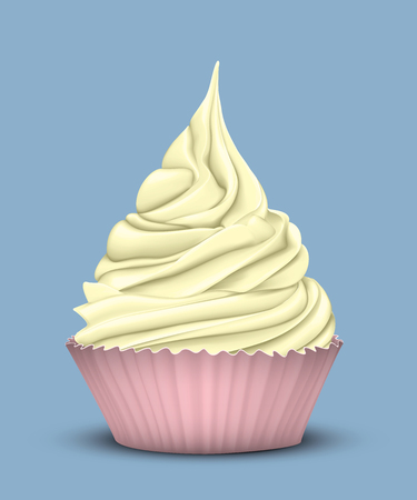 High tiered sweet yellow cream in a special mold pink for cupcakes on a blue background. 3D stylization Illustration
