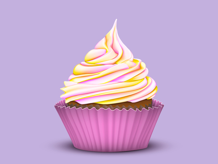 Pretty cupcake charm with multi-color gradient cream in a pink mold on a lilac background. Vector stylized 3D Illustration