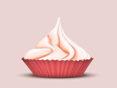 Top sweet twisted red cream in a special mold for cupcakes on a pink background. 3D stylization Illustration