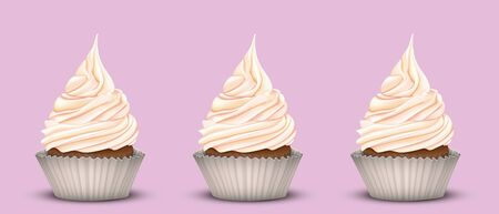 chocolate swirl: The set of three delicious cakes with lots of sweet cream. Pink background. Simulation 3D Illustration