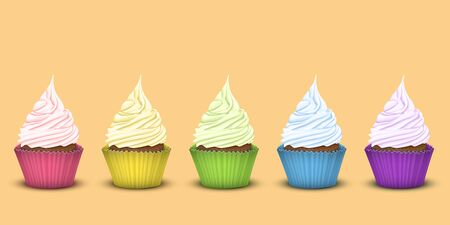 multi layered: Set of five rainbow cupcakes in multi-colored wrappers with a large number of multi-layered twisted cream the same colour as the packaging. 3D simulation