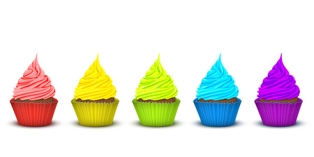 multi layered: set of five cupcakes in a very brightly colored rainbow packs with a large number of multi-layered twisted a delicious rich fruit cream in color packaging. 3D simulation