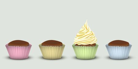 Four cupcakes in multi-colored pieces of paper, one with cream. 3D simulation
