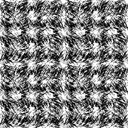 Texture directed in different directions wavy soft fur. Square seamless black and white pattern of the carpet. Illustration