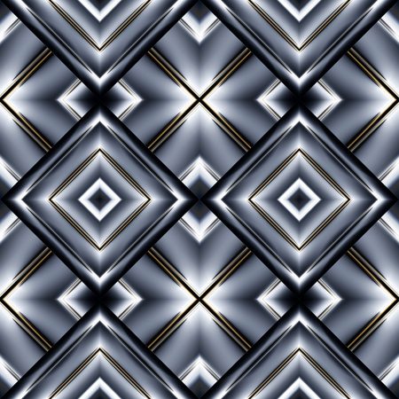 grey background texture: seamless pattern of diamonds in the form of smooth convex plate gray with refracted on the light and Golden frame