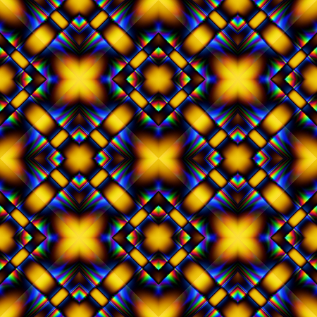 Complex fractal seamless pattern from rhombs with yellow blue chrome glitter