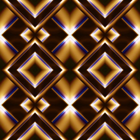 refracted: seamless pattern of diamonds in the form of smooth convex plate of brown color on them with refracted Golden light and blue frame Illustration