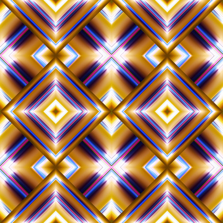 complex seamless pattern of diamonds in the form of smooth convex plate beige color with reflected light from them, and blue crosses Illustration
