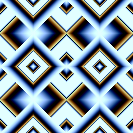 Seamless pattern of rhombuses with a futuristic space coloring blue and blue and gold, stretching into the depths of the framework Illustration